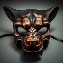 Wolf with Teeth Masquerade Mask - Black Copper