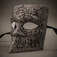 Bauta Mask With Black Glitter Venetian Mask -Grey Leopard