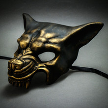 Wolf with Teeth Masquerade Mask - Black Gold