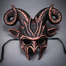 Krampus Ram Demon with Horns Devil Halloween Mask - Black Cropper