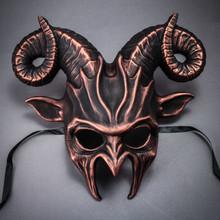 Krampus Ram Demon with Horns Devil Halloween Mask - Black Cropper