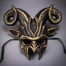 Krampus Ram Demon with Horns Devil Halloween Mask - Black Gold