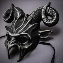 Krampus Ram Demon with Horns Devil Halloween Mask - Black Silver