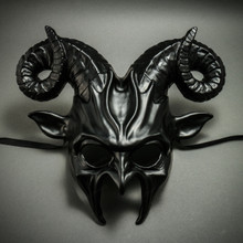 Krampus Ram Demon with Horns Devil Halloween Mask - Metallic Black