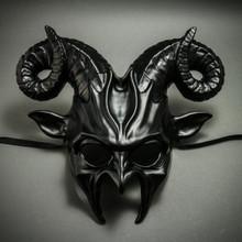 Krampus Ram Demon with Horns Devil Halloween Mask - Metallic Black