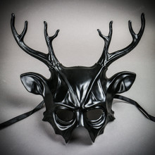 Deer With Antler Masquerade Halloween Mask - Black