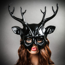 Deer With Antler Masquerade Halloween Mask - Black (with female model)