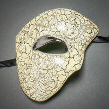 Phantom of Opera Design Venetian Masquerade Party Mask - Silver Black