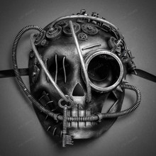 Steampunk Skull with Goggle Mask- Black Silver