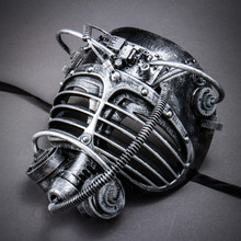 Steampunk Burning Man Gas Mask - Black Silver