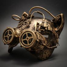 Metallic Steampunk Goggles Venetian Gatto Cat Mask Masquerade - Gold - 2