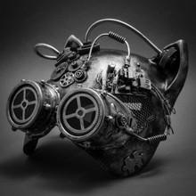 Metallic Steampunk Goggles Venetian Gatto Cat Mask Masquerade - Silver - 2