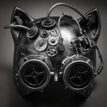 Metallic Steampunk Goggles Venetian Gatto Cat Mask Masquerade - Silver - 1