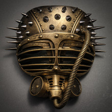 Metallic Steampunk Spike Gas Mask Full Face Masquerade Submarine - Gold
