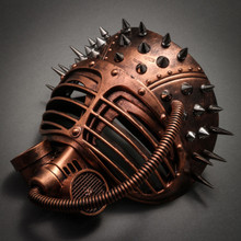 Metallic Steampunk Spike Gas Mask Full Face Masquerade Submarine - Copper - 2