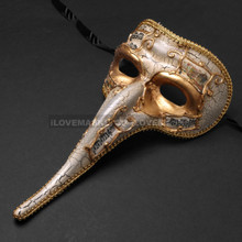 Musical Venetian Mardi Gras Men Long Nose Zanni Mask - Gold White