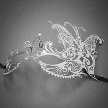 Butterfly Laser Cut Metal Venetian Masquerade Silver Rhinestone Mask - Silver