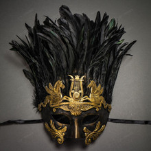Roman Greek Emperor with Pegasus Horses and Feather Venetian Mask - Black Gold