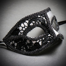 Medieval Venetian Masquerade Mask Phantom of Opera Design - Silver Black
