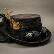 Steampunk Victorian Feather Top Hat - Black (Goggles)