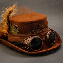 Steampunk Victorian Feather Top Hat - Brown (Goggles)