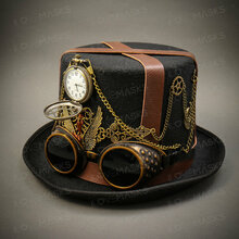 Steampunk Burning Man Top Hat - Black