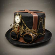 Steampunk Burning Man Top Hat - Black