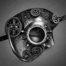 Phantom Of Opera Steampunk Goggle Half Face Mask - Silver