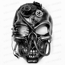 Skull Pirate Steampunk Full Face Mask - Black Silver (Front View)