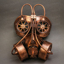 Full Face Burning Man Gas Mask For Halloween Party Costume Dress Up Rusty Gold
