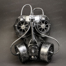 Goggles and Gas Mask Steampunk Half Face Mask - Silver