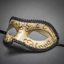 Medieval Venetian Masquerade Mask Phantom of Opera Design - Silver