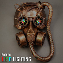 Skull Gas with Hose Mask Steampunk Full Face Mask - Copper