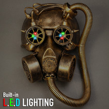Skull Gas with Hose Mask Steampunk Full Face Mask - Gold