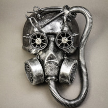Skull Gas with Hose Mask Steampunk Full Face Mask - Silver - Front View