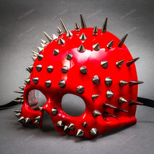 Skull Steampunk Spike Top Masquerade Mask - Glossy Red (Side view)