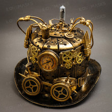 Steampunk Mad Scientist Time Traveler Top Hat - Antique Gold