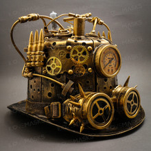 Steampunk Mad Scientist Time Traveler Top Hat - Antique Gold (Side View)