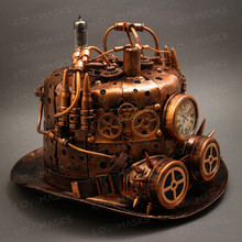 Steampunk Mad Scientist Time Traveler Top Hat - Antique Copper (Side View)