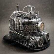 Steampunk Mad Scientist Time Traveler Top Hat - Antique Silver (Side View)