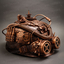 Steampunk Military Hard Hat with Goggles - Copper (Side View)