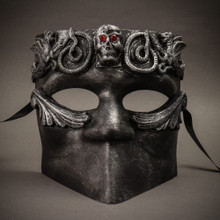 Bauta Skull Masquerade Party Full Face Mask - Silver Black