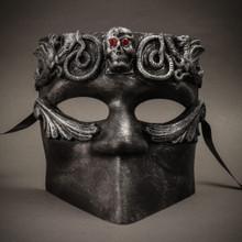 Bauta Skull Masquerade Party Full Face Mask - Silver Black