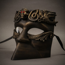 Bauta Skull Full Face Mask - Gold Black