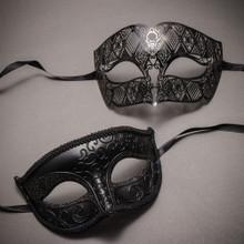 Black Classic Eyes Mask and Black Laser Cut Masks for Couple