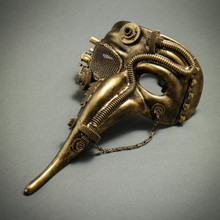 Steampunk Mardi Gras Men Long Nose Zanni Mask - Gold Black