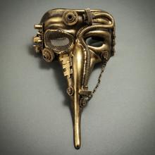 Metallic Silver M39055 Steampunk Phantom Theater Masquerade Mask for Men