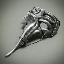 Steampunk Long Nose Zanni Mask - Silver Black