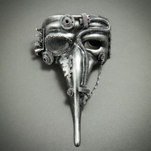 Steampunk Mardi Gras Men Long Nose Zanni Mask - Silver Black