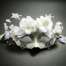Luxury Filigree Laser Cut Rhinestones Venetian Flower Wedding Mask - White